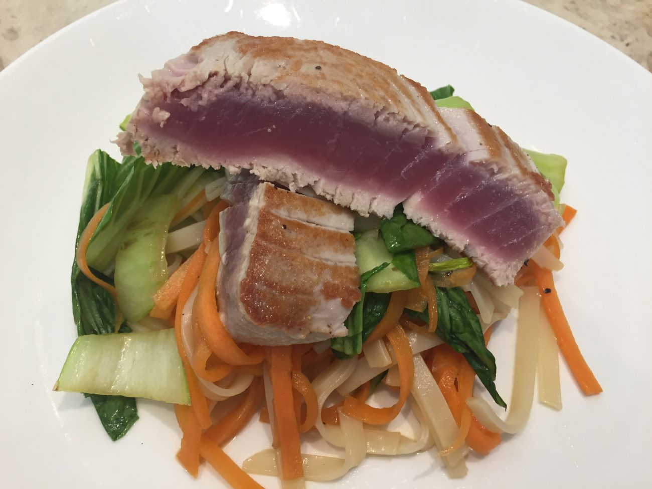 Tuna Steak with PakChoi Noodles