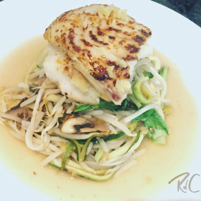Haddock with Lemon, Ginger and Honey Noodles