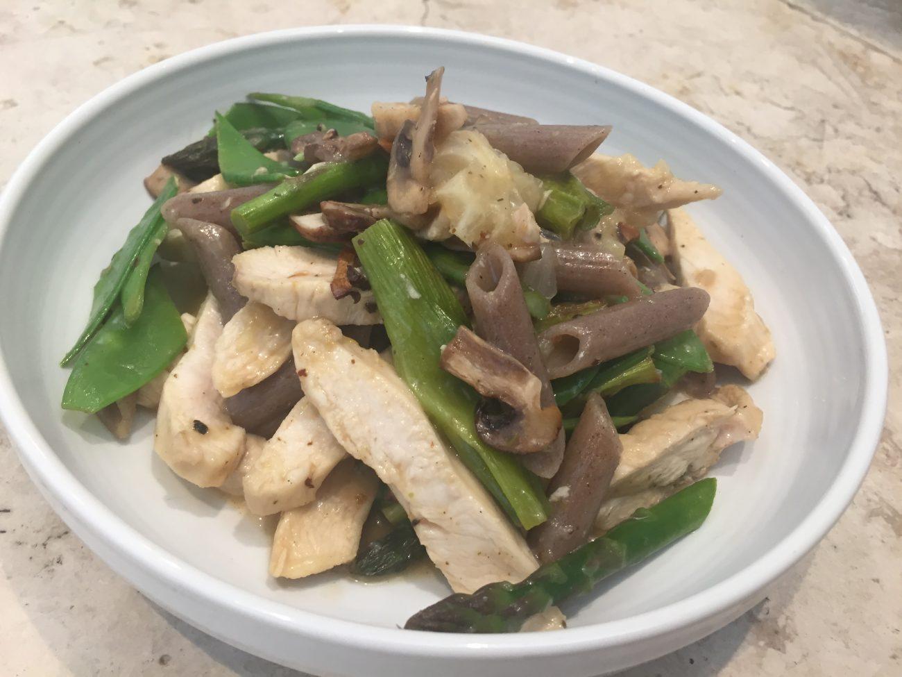 Spring veg and Lemon Chicken Pasta