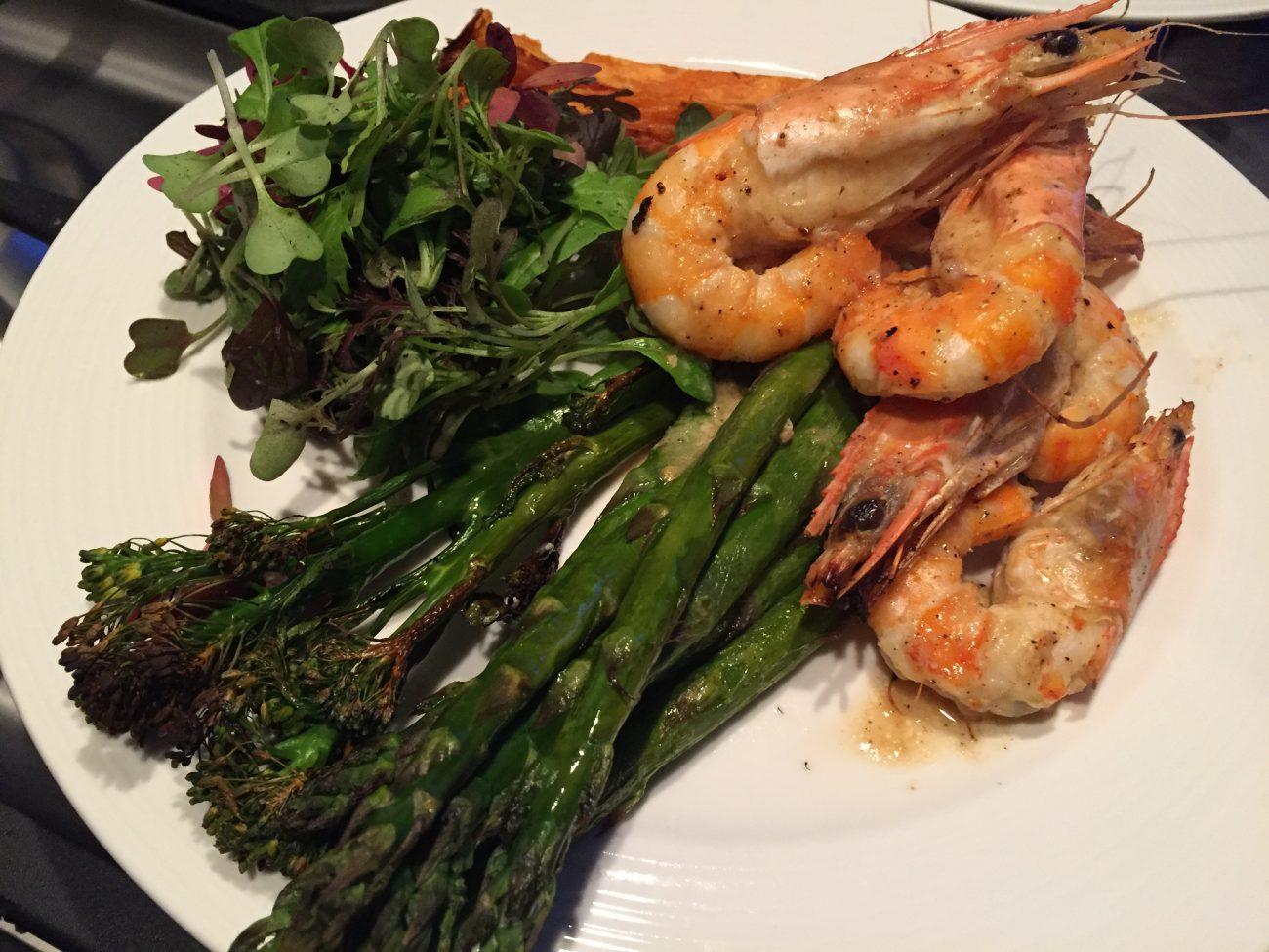 Garlic Gambas, Asparagus & Broccoli