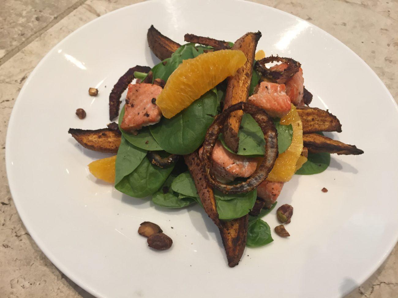 Pistachio, Orange and Salmon Salad