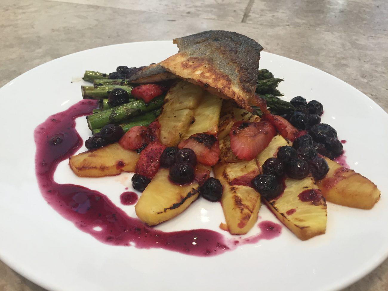 Seabass with Tropical Fruit & Black Sesame Asparagus
