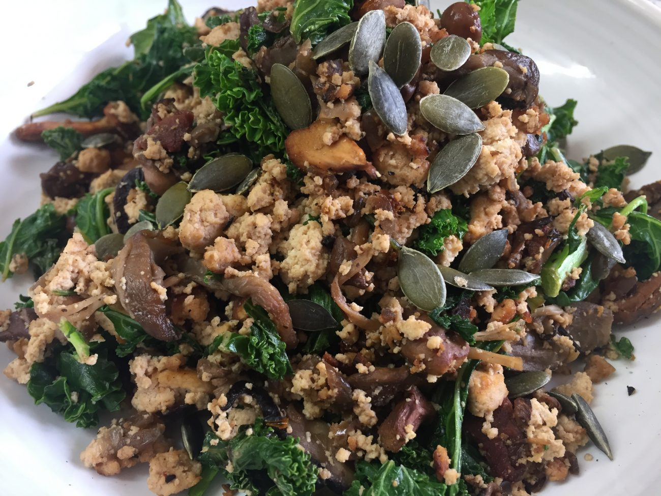 Wild Mushroom, Kale and Tofu Scramble