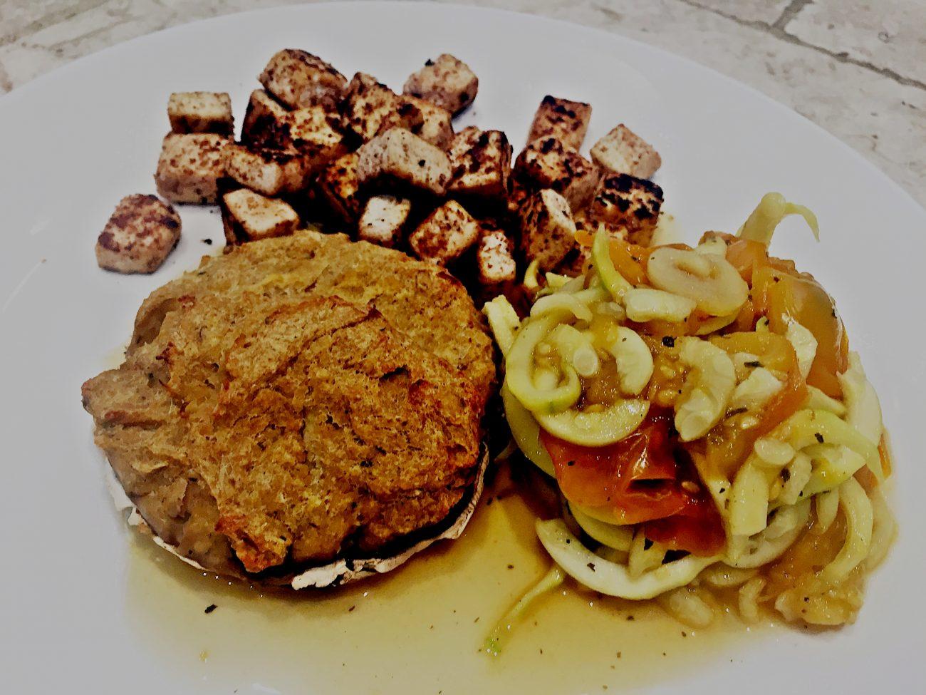 "Cajun Tofu & Tomato Courgetti with Leek & ""Cheesy"" Mushrooms"""