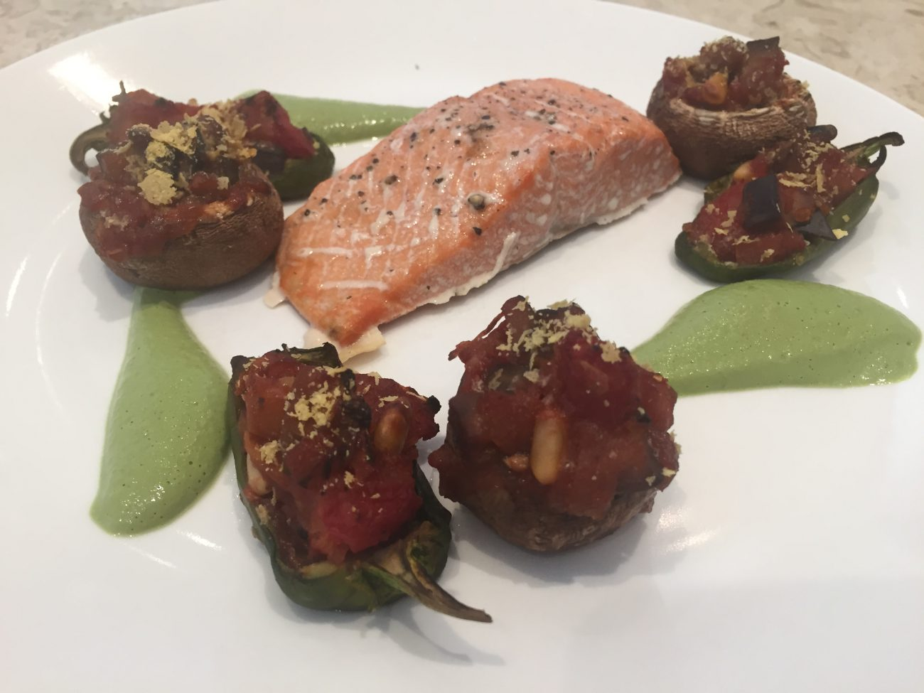 Salmon with stuffed mushrooms and peppers
