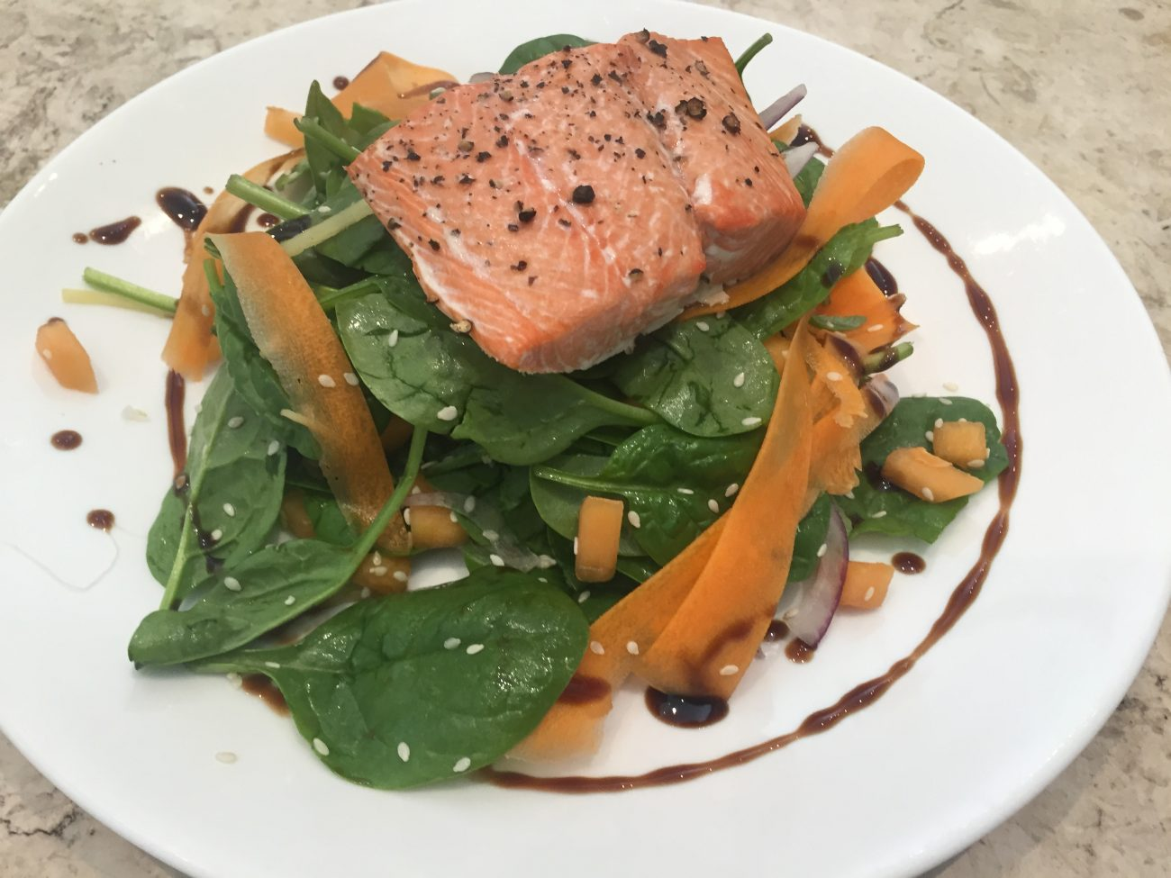 Salmon, Melon and Pickled Ginger Salad