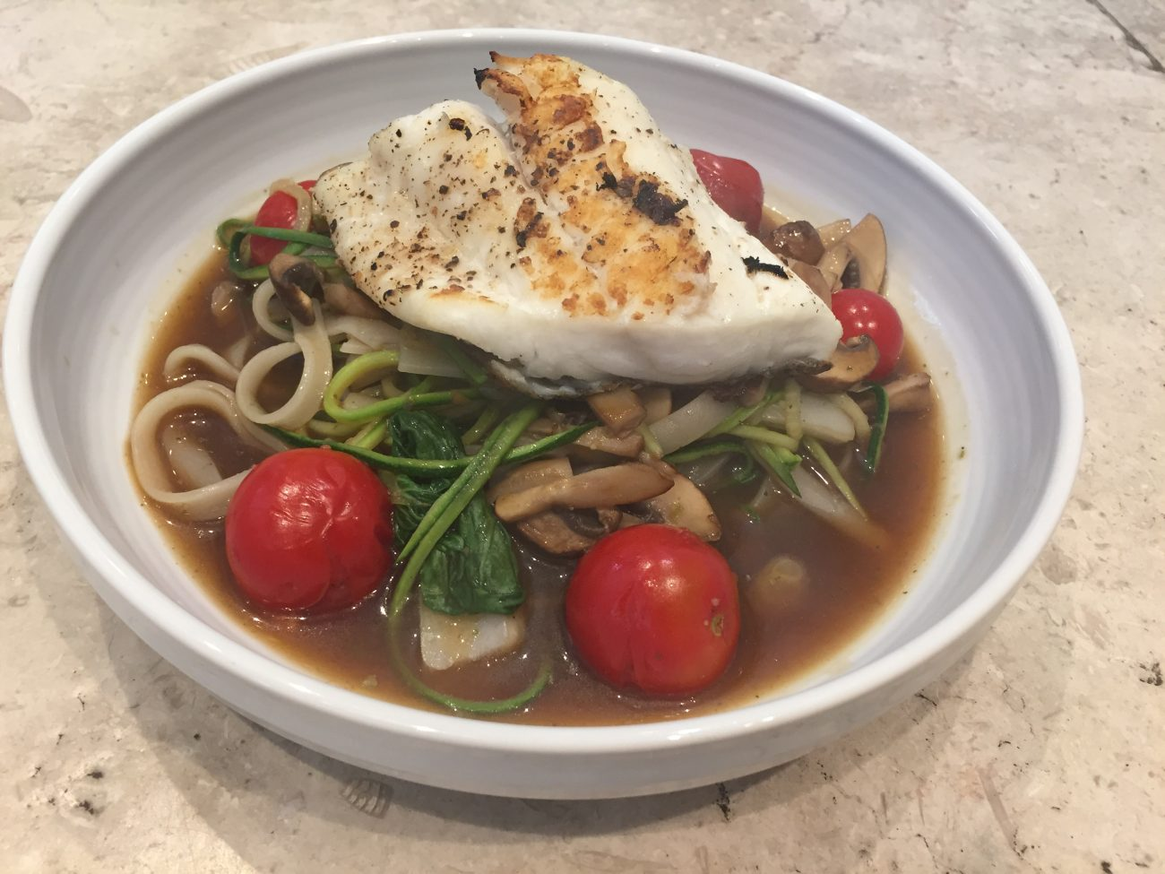 Brill; Vegetable Noodle Broth