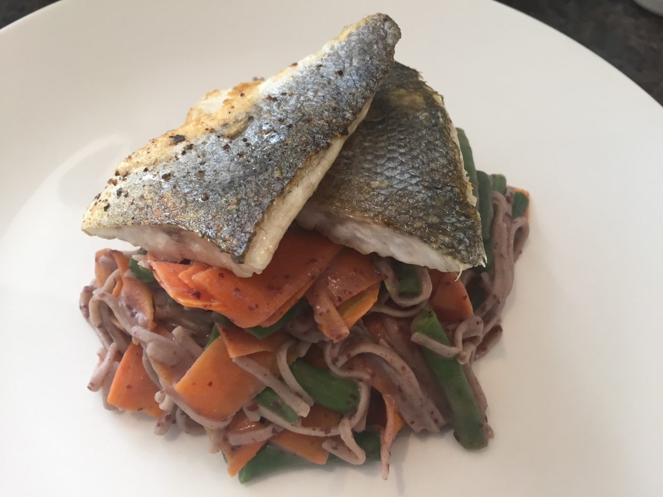 Seabass with BBQ Scented Noodles