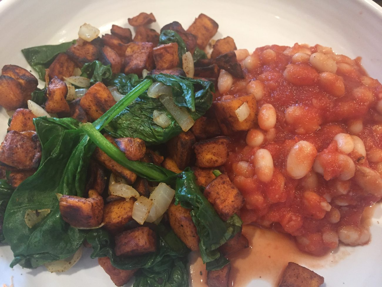 Sweet Potatoe Hash, Smoky Beans