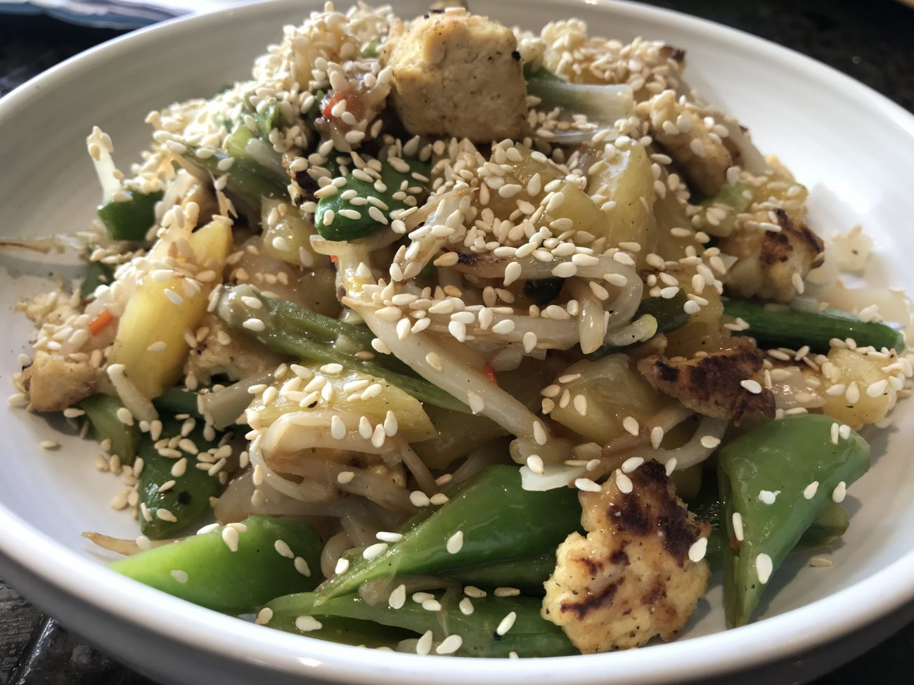 Crispy Tofu Pineapple & Sugar Snap Rice Noodles